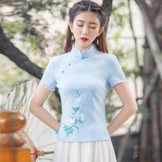 6193#日常中式复古短袖旗袍上衣 民国风绣花唐装上衣茶艺服演出女