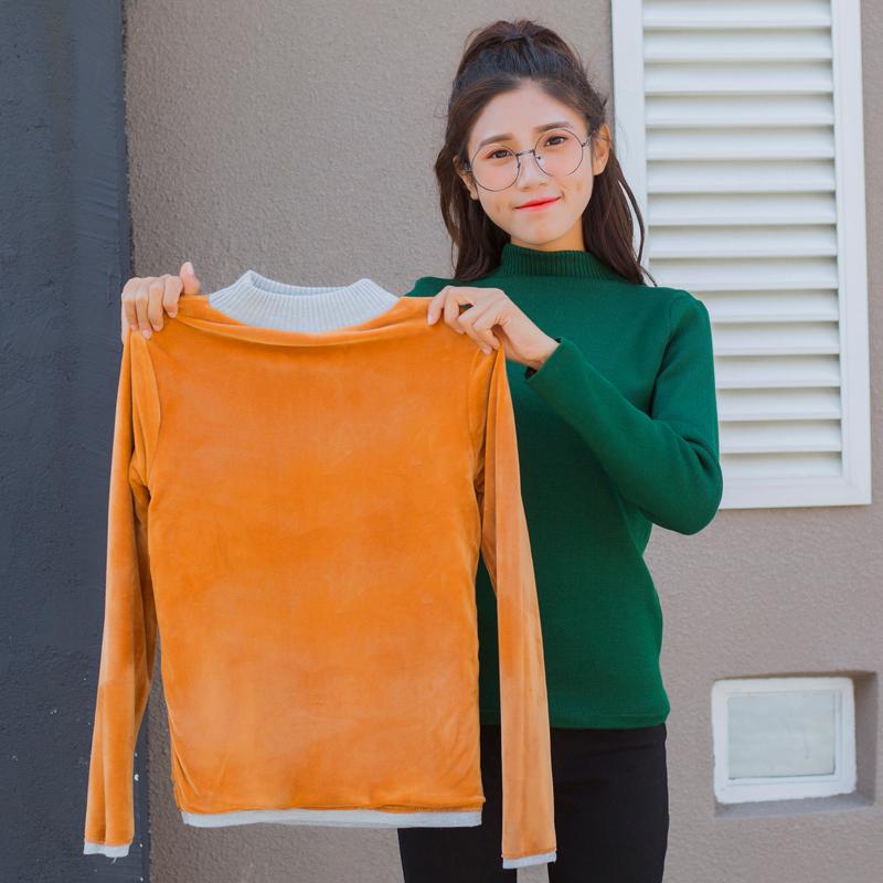 实拍 加绒加厚毛衣半高领套头打底衫女保暖毛衣弹力修身针织衫