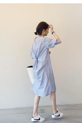 2018 mùa xuân và mùa hè sọc cá tính phong cách lại nút áo sơ mi dài ăn mặc bảy- điểm tay áo bông sản phẩm mới áo kiểu nữ đẹp tuổi 35 Sản phẩm HOT