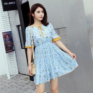 实拍 2018夏装新款韩版短袖小清新小个子碎花百褶雪纺连衣裙修身