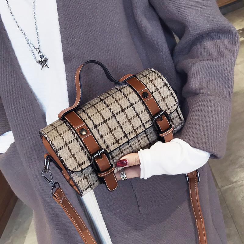 2017冬新款韩版复古格子波士顿手提chic百搭枕头包单肩斜挎女包包