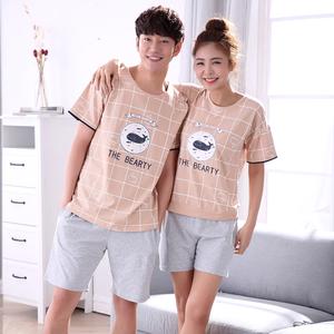 睡衣情侣女夏套装 纯棉短袖两件套男士薄款韩版宽松 家居服男夏季