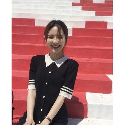 MICOCO Hàn Quốc INS Dongdaemun Polo cổ áo màu đơn ngực cao đẳng gió đan thẳng ăn mặc váy đầm