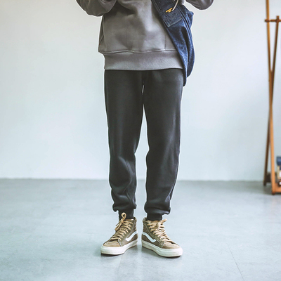 Hey Ma Qizuo original Japanese beam foot sweatpants, trousers, loose Harlan, small feet pants and velvet casual pants men tide