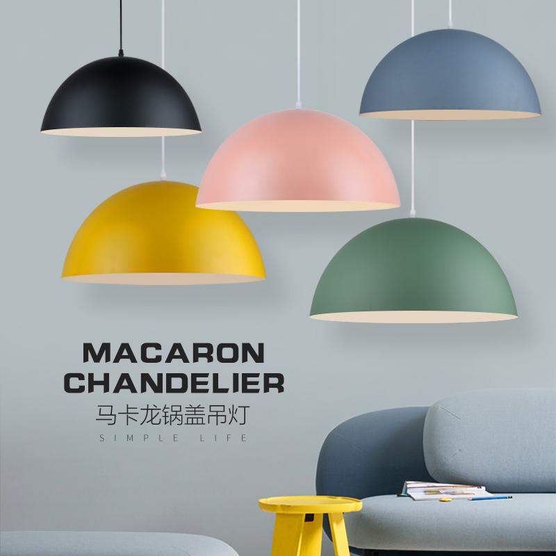 现代简约单头吊灯北欧办公室网吧理发店餐厅吧台锅盖马卡龙吊灯罩