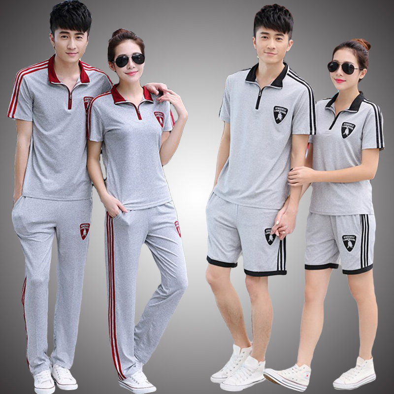 Thể thao phù hợp với nam giới mùa hè ngắn tay T-Shirt quần vài thể thao của phụ nữ thường chạy quần áo mỏng hai mảnh