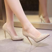 Светло цвет на высоком каблуке Женские туфли на шпильках с острым носом белый Свадебные туфли туфли Дикие женские свадебные туфли серебряный Обувь для подружки невесты
