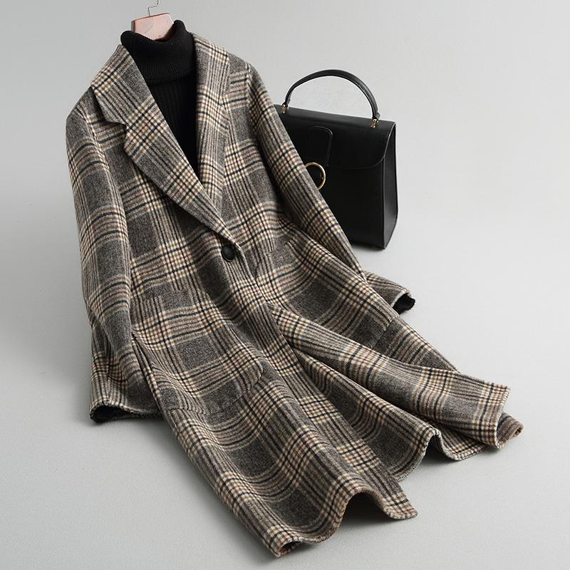 Chống mùa giải phóng mặt bằng Hàn Quốc phiên bản của chiếc áo khoác len trong phần dài của mạng hai mặt cashmere áo len của phụ nữ mùa thu và quần áo mùa đông