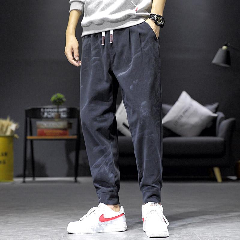 夏季裤子男士宽松休闲裤运动工装9分裤