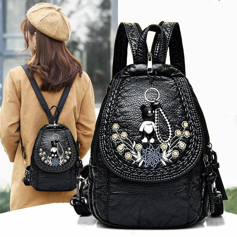 印花女士背包双肩包书包女新款韩版高中休闲百搭软皮斜挎两用胸包