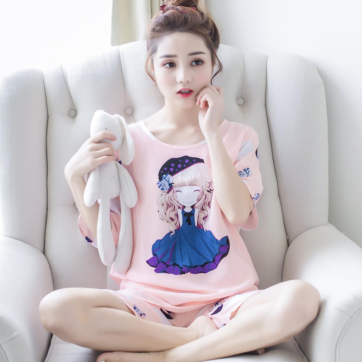 短袖睡衣女夏季纯棉绵绸薄款韩版宽松人造棉绸