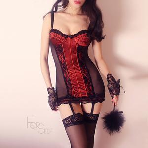 Forself Pháp nụ lụa sợi xương cá Victoria quan điểm ren có thể tháo rời garter tập hợp cơ thể ăn mặc