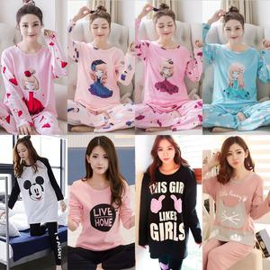 Dài tay đồ ngủ nữ Hàn Quốc phiên bản của phim hoạt hình dễ thương mùa xuân và mùa thu đồ ngủ quần phần mỏng có thể được đeo bên ngoài của phụ nữ giản dị dịch vụ nhà mùa hè