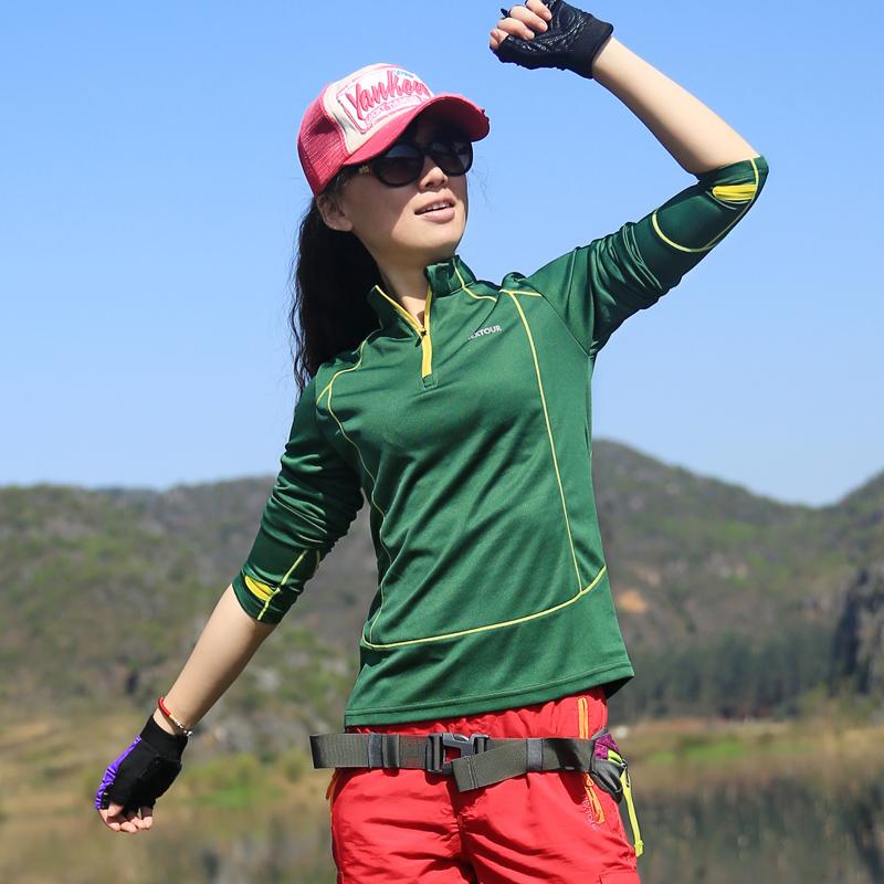 Taotao phụ nữ ngoài trời của quần áo khô nhanh đứng cổ áo dài tay T-Shirt kem chống nắng thoáng khí quần áo thể thao chạy cưỡi nhanh khô quần áo
