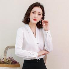 实拍2019新款衬衫职业V领女士韩范时尚上衣长袖衬衣