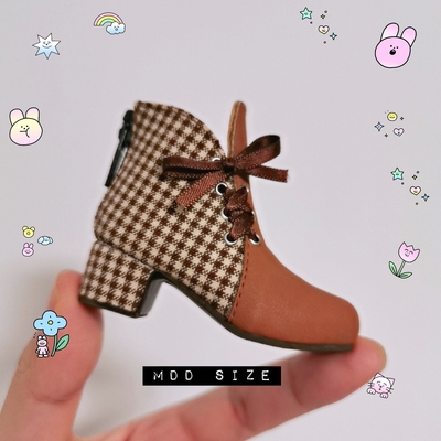 taobao agent Bow-knot plaid high-heeled short boots BJD 1/4 MDD Xiongmei 1/6 Six-point baby shoe salon Card meat SOO