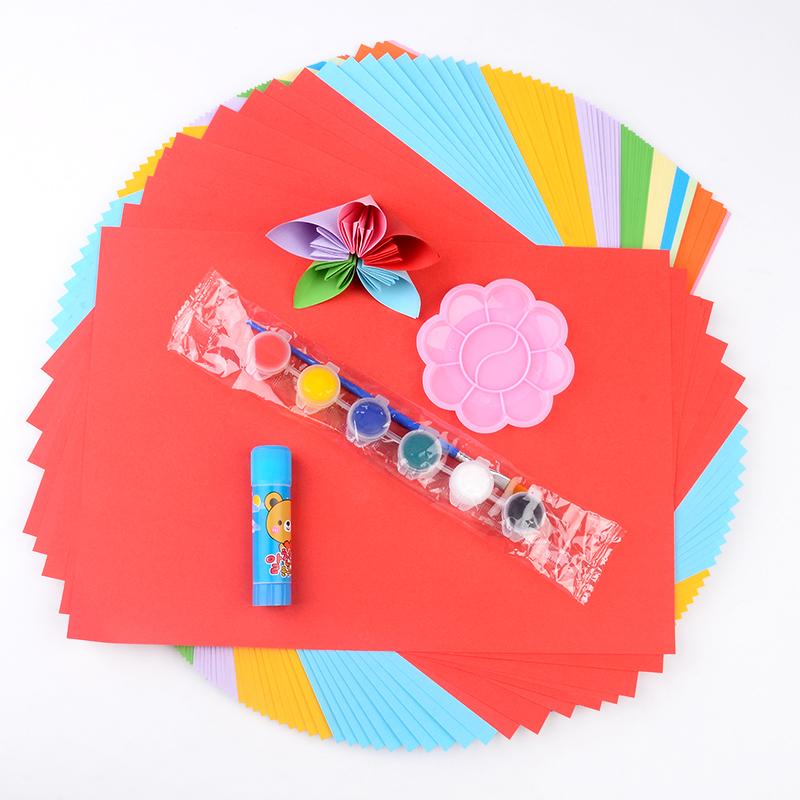 河小象 A4彩纸100张包邮送画笔+颜料 DIY千纸鹤儿童手工折纸剪纸_领取10元淘宝优惠券