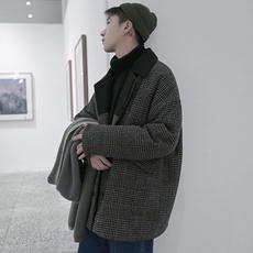 日系复古格子夹棉风衣单排扣加厚毛呢大衣