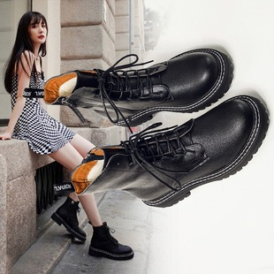 Yang Mi with the same Martin boots female English style 2019 new autumn wild small boots shoes black handsome tide ins
