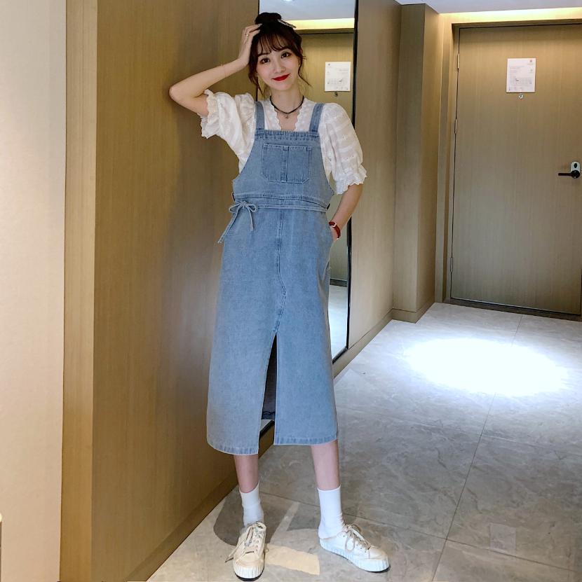 实拍实价新款韩版复古显瘦宽松开叉水洗牛仔背带裙连衣裙