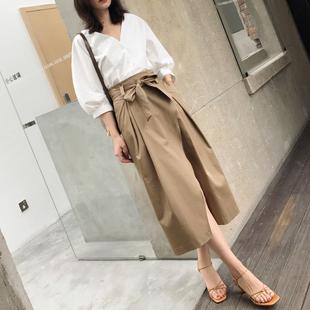 2018春夏新款韩版高腰系带时尚半身长裙 开叉a字裙半身裙子女