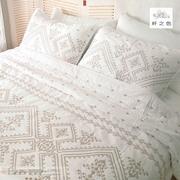 Xuất khẩu Châu Âu-phong cách cotton retro Mỹ rắn màu trắng quilting là ba mảnh bộ đồ giường mùa hè mát trải giường