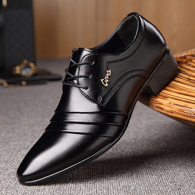 春季男士小皮鞋男商务正装韩版亮面休闲男士系带潮流内增高大码鞋