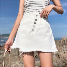 实拍实价 新款高腰显瘦白色不规则牛仔短裙女毛边A字半身裙 609#