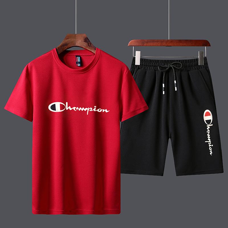 男士休闲运动套装短袖T恤短裤沙滩裤两件套