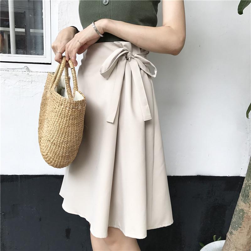 2018 mùa hè chic retro cao eo là nơ mỏng váy màu rắn nữ đơn giản hoang dã một từ trong thủy triều váy