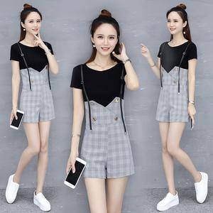 6819夏季新款女装潮时尚气质chic两件套小香风洋气短裤套装女显瘦