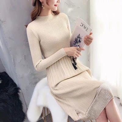 新款小香风中长款加厚毛衣针织衫连衣裙