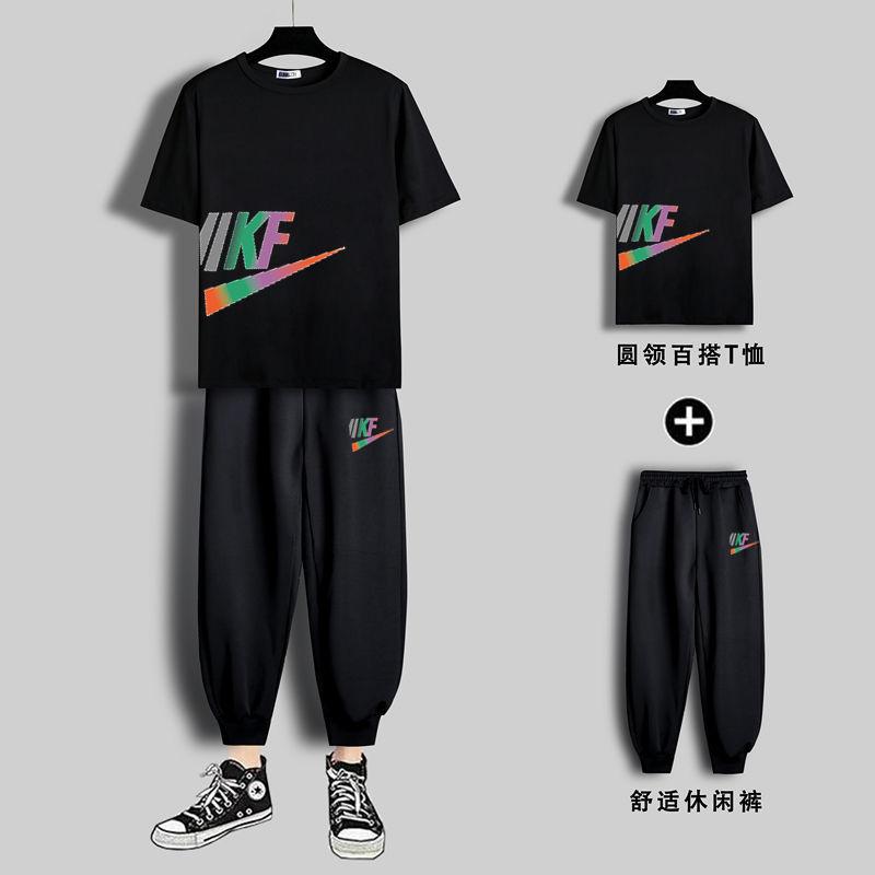 【两件套】2021夏季新款潮流青年运动套装男士休闲短袖T恤男宽松