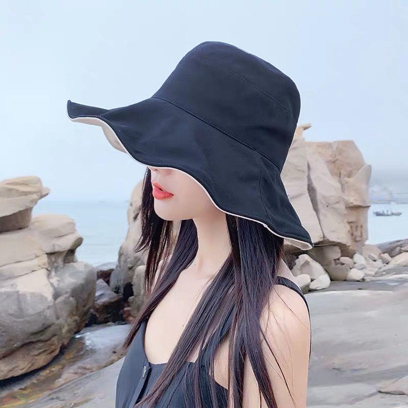 双面渔夫帽女日系大帽檐百搭防晒遮阳ins帽子夏季韩版网红太阳帽