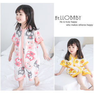 Trẻ em đồ ngủ cô gái chân túi ngủ mùa hè mỏng onesies điều hòa không khí quần áo 1-3 năm tuổi cotton bé dịch vụ nhà