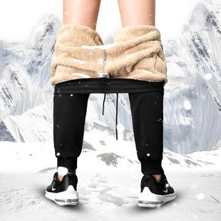 加厚加绒羊羔绒运动休闲男裤