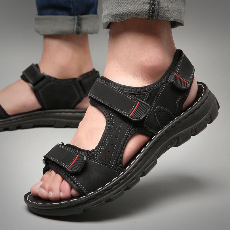 皮凉鞋男真皮软底夏季沙滩鞋休闲凉拖二用潮