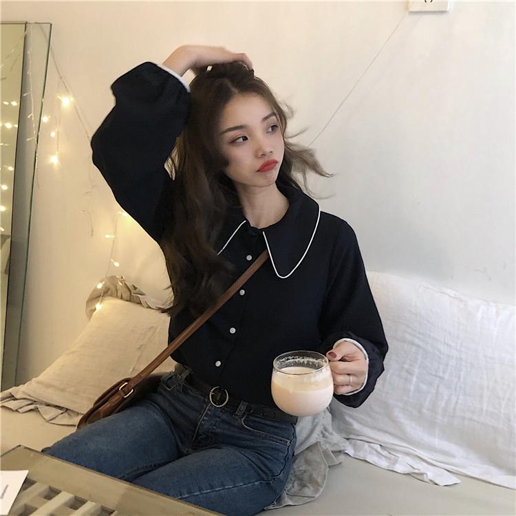 实拍实价~韩版春季撞色包边娃娃领减龄学院风衬衫~已检测 1048#