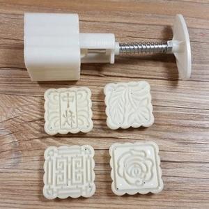 Trung thu khuôn bánh trung thu DIY làm bánh trung thu thủ công Khuôn vuông 63 g 4 miếng Hoa cầm tay ép da bánh đậu xanh