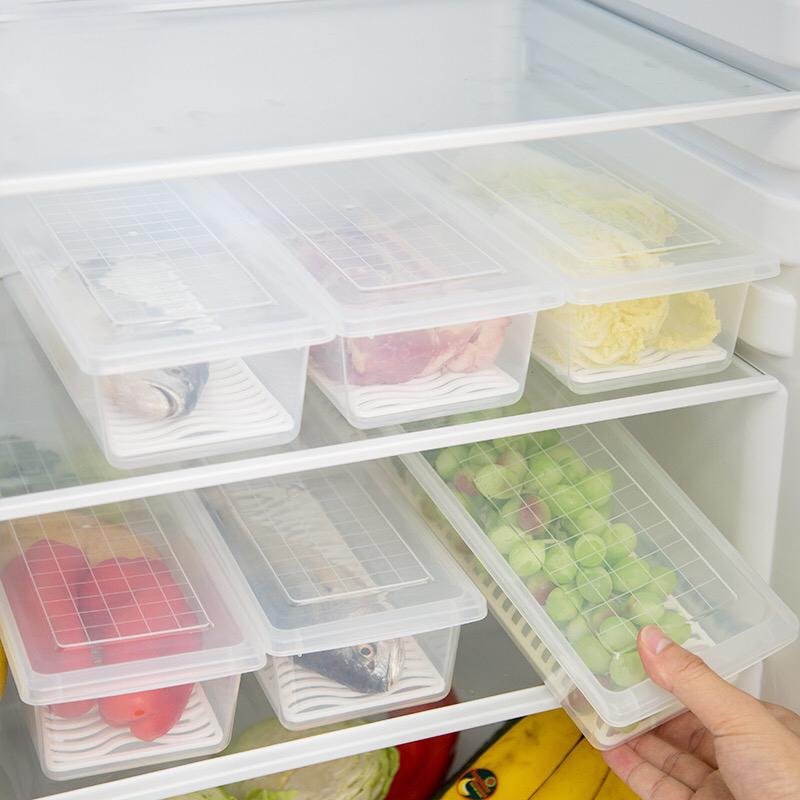 廚房瀝水保鮮盒塑料大容量魚盒海鮮盒子長方形冰箱冷藏冷凍儲藏盒