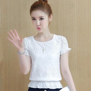 韩版潮蕾丝打底衫女雪纺衫遮肚收腰上衣