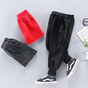 薄款金丝绒儿童单层休闲裤