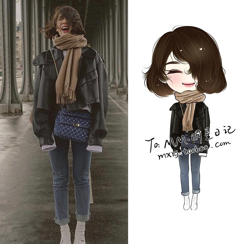 明星朴信惠同款黑色短款韩版pu小皮衣女士机车宽松洋气帅气外套