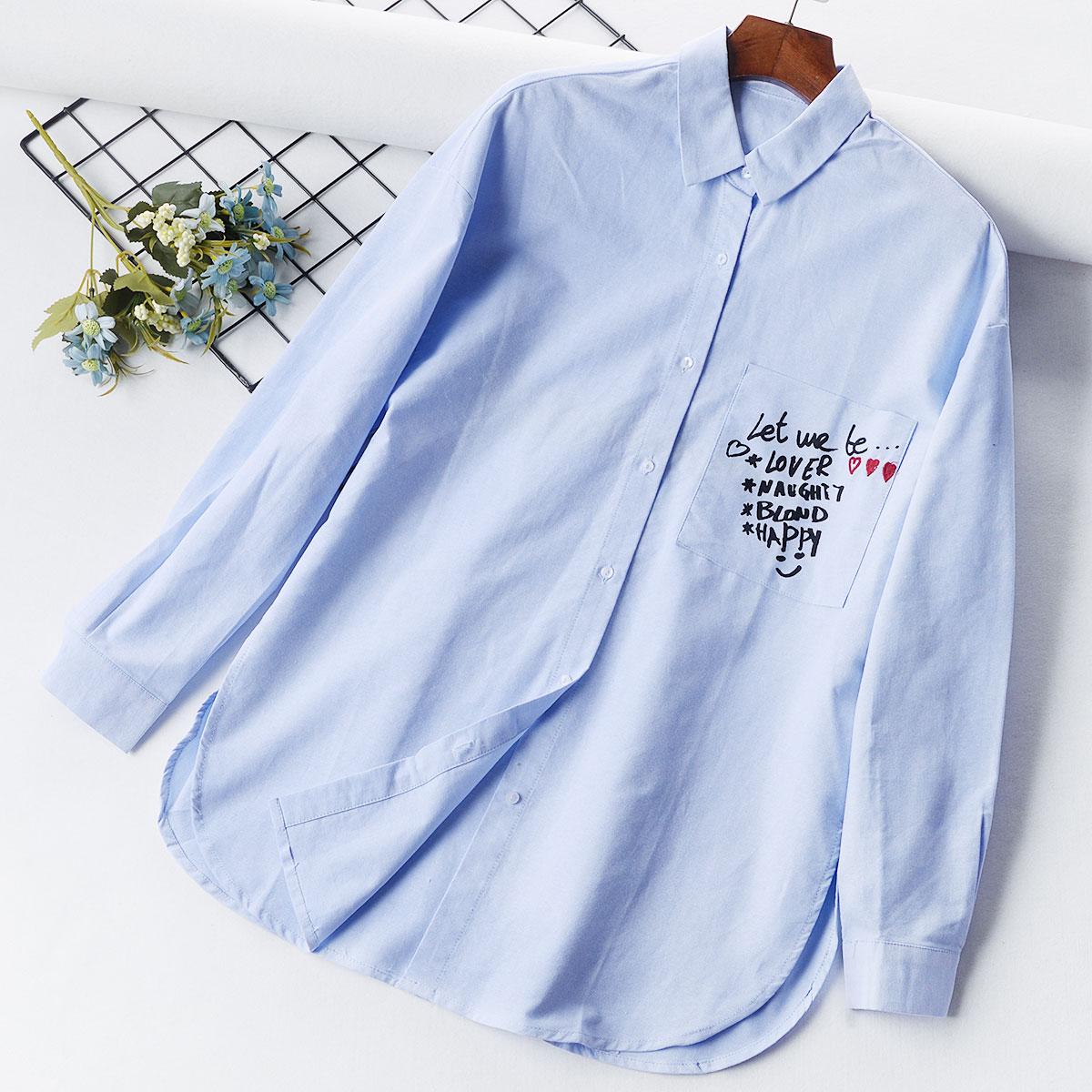 G4 mới của phụ nữ thường dài tay áo lại túi trái thư in thêu áo sơ mi hoang dã triều