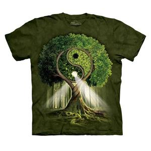 Hoa Kỳ THE MOUNTAIN Sáng Tạo Tai Chi Yin Yang Mô Hình Cây Nam Giới và Phụ Nữ Vài Ngắn Tay Áo In T-Shirt