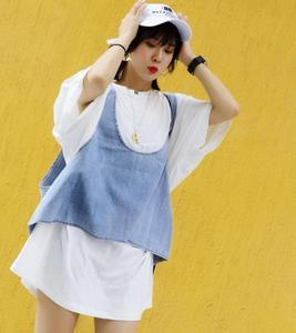 SEVE yirong quốc tế đích thực 7362 denim vest + T-Shirt kích thước lớn casual loose Hàn Quốc phiên bản của hai mảnh váy