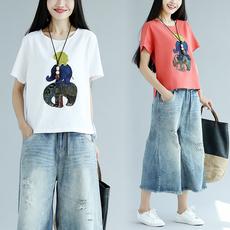 2018夏季新款宽松贴布绣花棉麻短袖T恤显瘦大码女装上衣