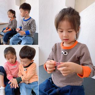 Ребенок хлопок щеткой свитер мальчиков и девочек, круглый вырез цвет hit длинный рукав полоса T футболки существует толщина SD