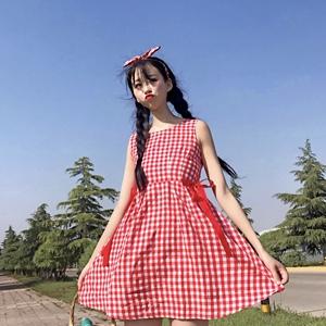 9517 日系软萌甜美小清新格子背心裙蝴蝶结系丝带a字学生连衣裙