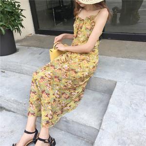 实拍9013#017夏季新款韩版显瘦碎花长款沙滩裙波西米亚雪纺连衣裙